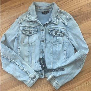Distressed denim jacket NWT